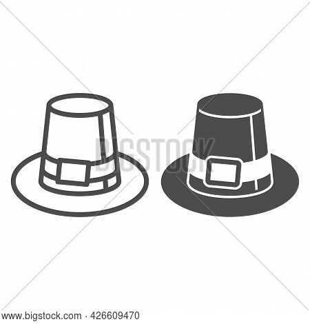 Farmer Hat For Men Line And Solid Icon, Headware Concept, Thanksgiving Pilgrim Top Hat Vector Sign O