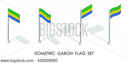 Isometric Flag Of Gabon In Static Position And In Motion On Flagpole. 3d Vector
