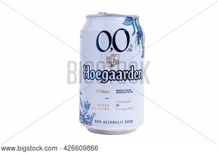 Tyumen, Russia-may 25, 2021: Non Alcoholic Beer Hoegaarden Aluminum Can. Isolated On A White Backgro