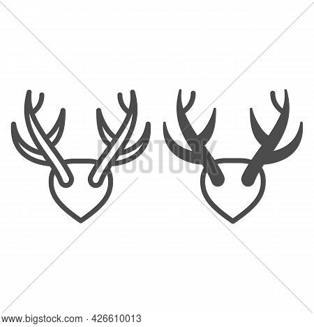 Horns As Trophy Line And Solid Icon, Hunting And Decoration Concept, Mounted Antlers Horn Vector Sig