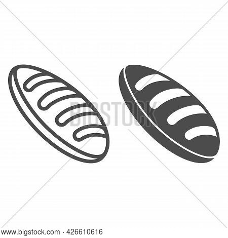 Bread Loaf Line And Solid Icon, Food And Grocery Concept, Long Loaf Vector Sign On White Background,