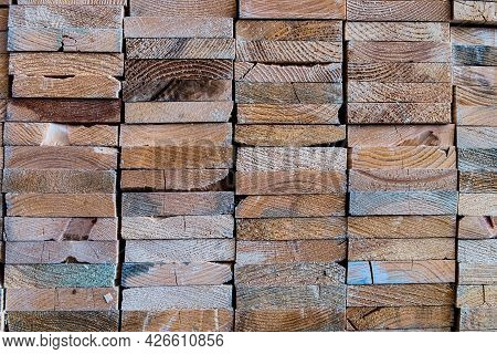 Close-up A Group Of Industry Wood Processing (chamcha Wood) Material In Warehouse For Use On Constru