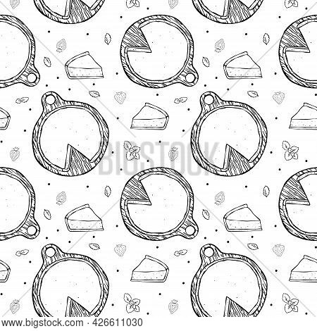 Seamless Pattern Cheesecake And Piece Black Outline On White Background