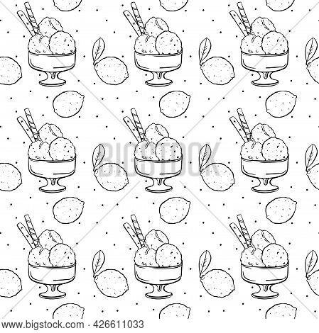 Seamless Pattern Hand Drawing Lemon Ice Cream And Lemons Black Outline On White Background.