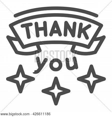 Inscription Gratitude Line Icon, Thankfullness Appreciation Concept, Thank You Text Vector Sign On W