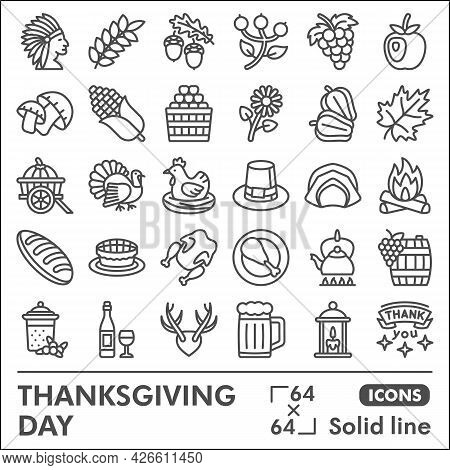 Thanksgiving Day Line Icon Set, Harvest Celebration Symbols Collection Or Sketches. Gratitude Solid