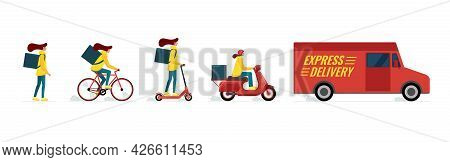 Express Delivery Female Courier Service Concept Set. Online Fast Logistic Woman On Bicycle, Electric