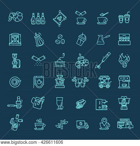 Coffee And Accessories. Set Of Outline Icons