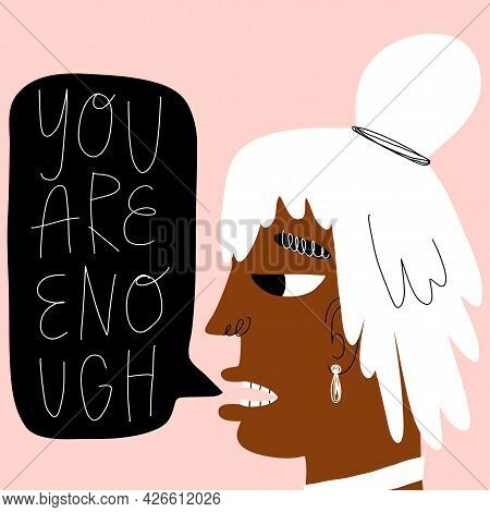 Woman, African Teenager Girl With Pink Hair Manifesting You Are Enough. Trendy Hand-drawn Character
