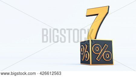 Gold Seven 7 Percent Number With Black Cubes  Percentages Isolated On A White Background. 3d Render