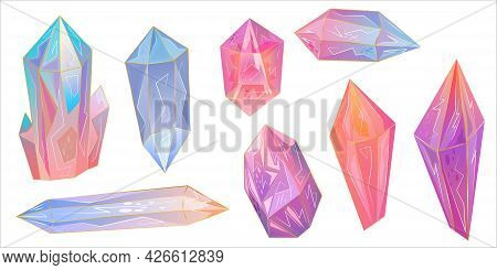Set Is Beautiful Gemstone, The Crystals Are An Excellent Design For Any Purpose. Rainbow Texture Wit
