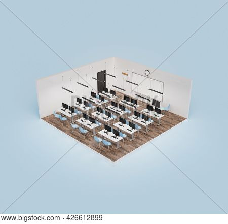 Isometric View Of A Cube With A Modern Classroom With Computers On The Desks And Blank Whiteboard. C