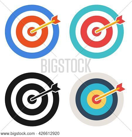 Darts, Set Of Circles For Playing Darts Isolated On White Background. Vector, Cartoon Illustration.