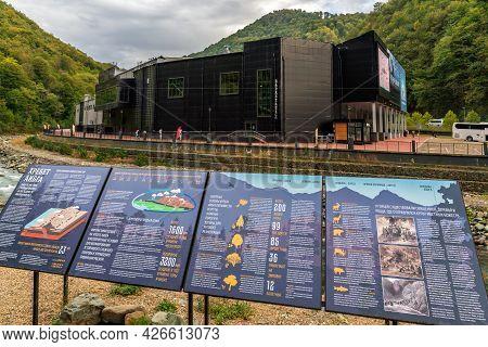 Sochi, Russia - September 30, 2020: Rosa Hall Building In Rosa Khutor Mountain Resort In Krasnaya Po