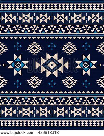 Aztec Triabl Geometric Seamless Vector Pattern - Peruvian Carpet Style, 8x10 Format, Southwestern De