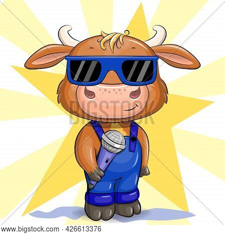 Cute Cartoon Bull With Glasses And A Microphone. Vector Illustration Of A Singer.