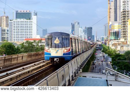 Bangkok-thailand Aug 19 2019: Bts Sky Train On Cityscape Background In Daytime , Sky Train Is A Mass