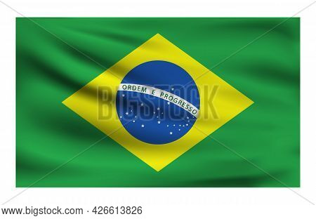 Realistic National Flag Of Brazil. Current State Flag Made Of Fabric. Vector Illustration Of Lying W