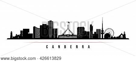 Canberra Skyline Horizontal Banner. Black And White Silhouette Of Canberra, Australia. Vector Templa