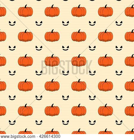 Halloween Concept.pumpkin Seamless Pattern With Face On Pastel Background. Jack O Lantern Design For