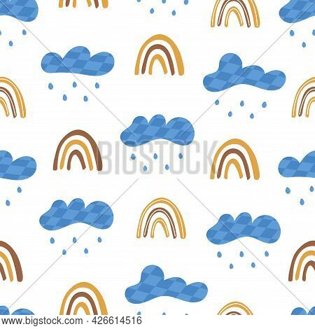 Seamless Pattern With Clouds With Rain And Rainbow. On White Background. Vector Colorful Illustratio