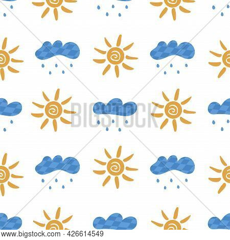 Seamless Pattern With Clouds With Rain And Sun. On White Background. Vector Colorful Illustration Ha