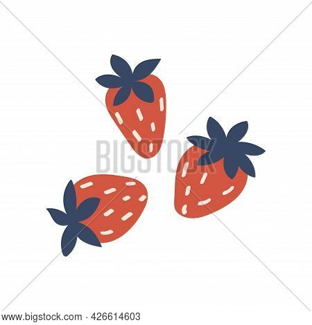 Three Strawberries. On White Background. Vector Colorful Illustration Hand Drawn. Ripe Summer Health