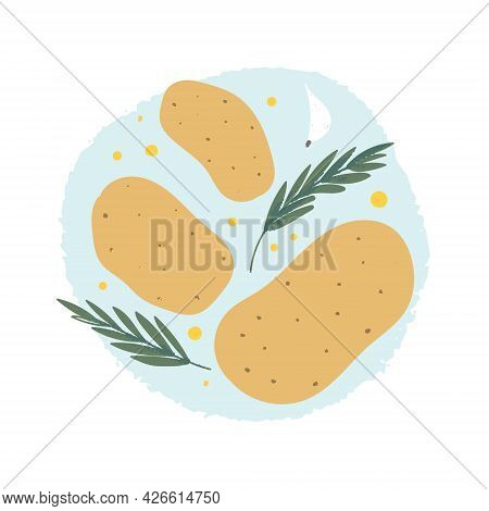 Rosemary Potato Ingredients. Homemade Garnish With Garlic, Olive Oil And Herbs.