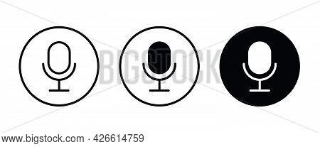 Microphone Icons Button, Vector, Sign, Symbol, Logo, Illustration, Editable Stroke, Flat Design Styl