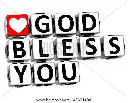 3D God Bless You Button Click Here Block Text