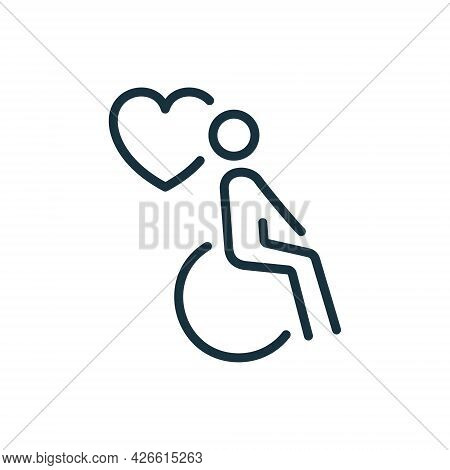 Charity And Donate Concept. Handicap Patient In Wheelchair Line Icon. Volunteer Care For Disabled Li