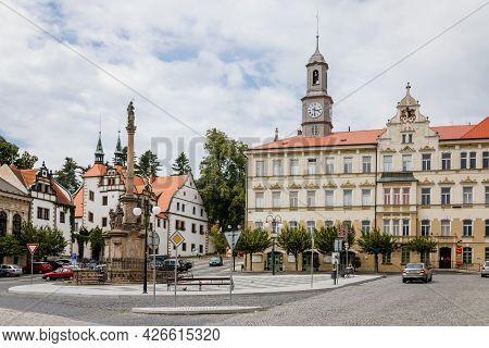 Benesov Nad Ploucnici, North Bohemia, Czech Republic, 26 June 2021: Marian Column With Baroque Statu