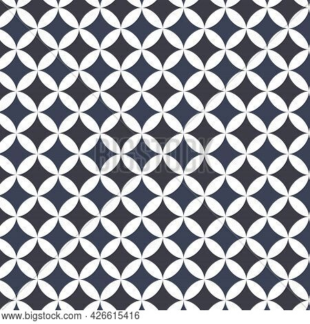 Blue Monochromatic Geometric Shapes Seamless Pattern Background.design For Fabric,print,product,tile