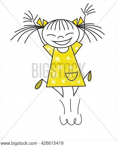 A Cheerful Little Girl Laughs And Jumps For Joy. Vector Illustration Isolated On White Background, I