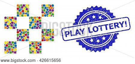Multicolored Collage Chess Cells, And Play Lottery Exclamation Dirty Rosette Stamp. Blue Stamp Seal