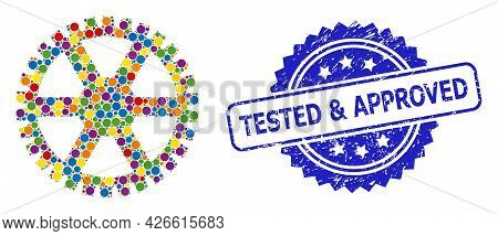 Multicolored Collage Clock Gearwheel, And Tested And Approved Rubber Rosette Seal Print. Blue Stamp