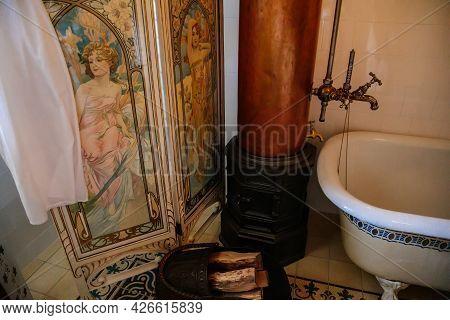 Velke Brezno, Czech Republic, 26 June 2021: Chateau Velke Brezno, Castle Interior, Bathroom With Cer
