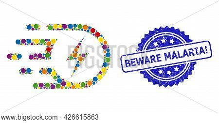 Multicolored Collage Electric Strike, And Beware Malaria Exclamation Unclean Rosette Stamp Seal. Blu