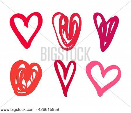 Freehand Heart On Isolated White Background. Love Symbol. Hand Drawn Hearts. Valentine's Day