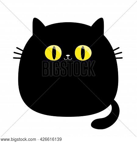 Funny Cat. Big Yellow Eyes. Black Silhouette. Cute Cartoon Character. Moustaches. Baby Pet Animal Co
