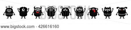 Monster Set Icon Line Banner. Happy Halloween. Kawaii Cute Cartoon Baby Character. Funny Face Head B