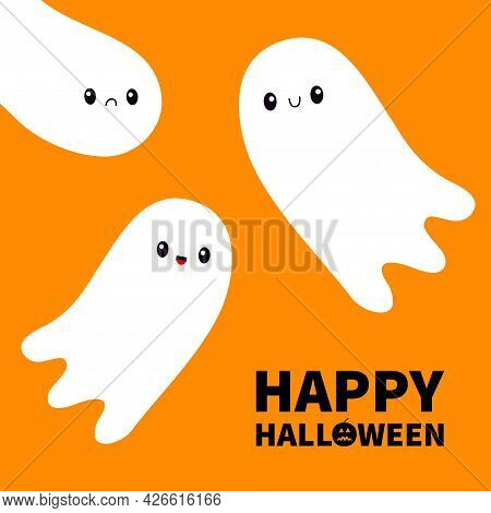 Happy Halloween. Three Flying Ghost Spirit Set. Scary White Ghosts Family. Cute Cartoon Spooky Chara