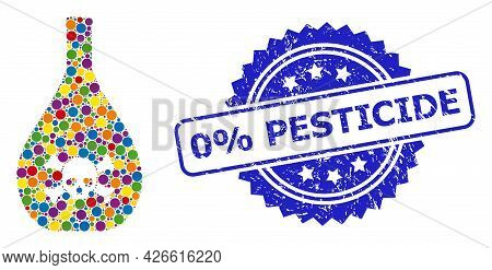 Colorful Mosaic Poison Jug, And 0 Percents Pesticide Grunge Rosette Stamp Seal. Blue Stamp Includes