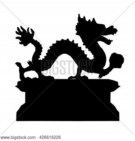 Silhouette Of A Dragon Figurine On A Stand Isolated On A White Background. Vector Illustration
