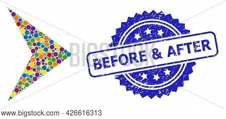 Multicolored Mosaic Right Direction, And Before And After Dirty Rosette Seal Print. Blue Stamp Seal