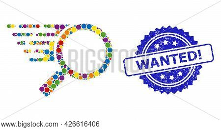 Multicolored Collage Search Tool, And Wanted Exclamation Grunge Rosette Seal. Blue Stamp Seal Has Wa