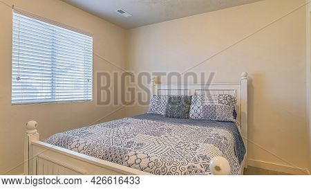 Pano Bedroom Interior With Double Bed Window And Flush Mount Dome Ceiling Light