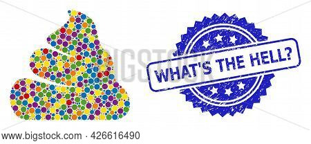 Multicolored Collage Shit, And What S The Hell Question Rubber Rosette Stamp Seal. Blue Stamp Seal I