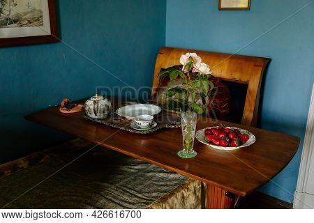 Velke Brezno, Czech Republic, 26 June 2021: Chateau Velke Brezno, Castle Interior Of Blue Bedroom, B