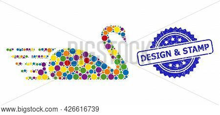 Bright Colored Mosaic Swan, And Design And Stamp Grunge Rosette Stamp Seal. Blue Seal Has Design And
